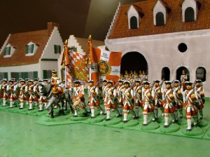 Regiment von Eintopf on parade with its brand new colours flying