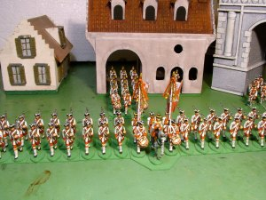 An overhead view of Von Eintopf Musketeers, with their grenadiers emerging from the new Zollamt.