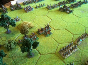 The Roman left flank, British in the woods